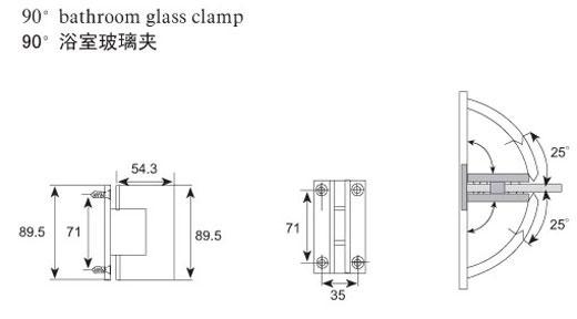 不锈钢浴室玻璃夹 玻璃隔断
